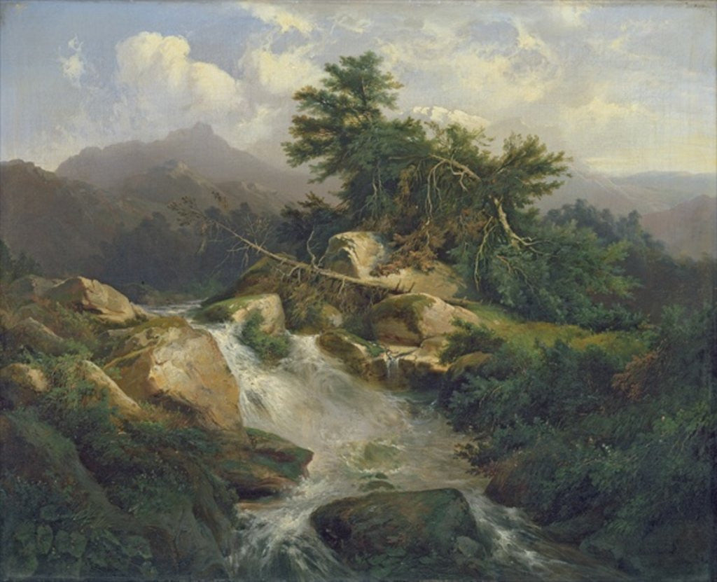 Detail of Forest Landscape with Waterfall by Julius Bakof