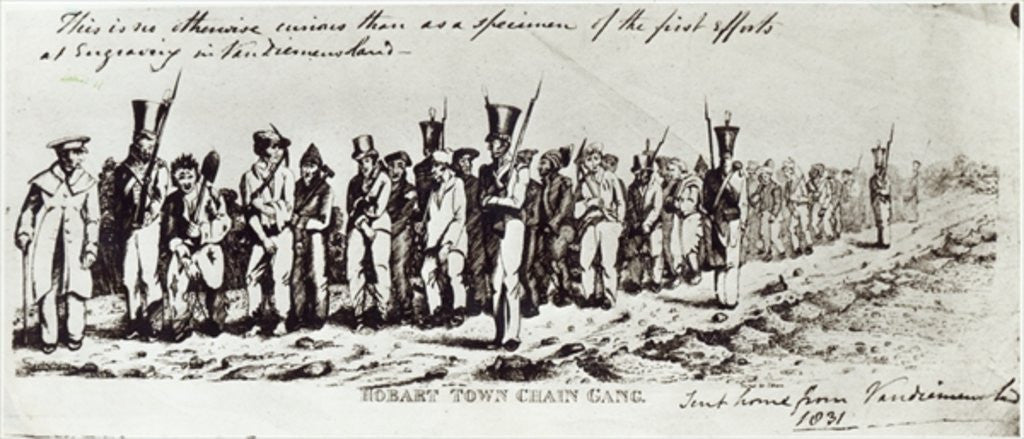 Detail of Hobart Town Chain Gang by Charles Bruce