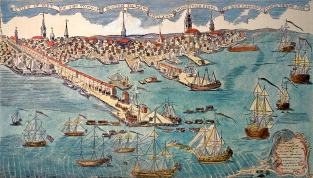 Detail of A View of Part of the Town of Boston in New England and British Ships of War Landing Their Troops by Paul Revere