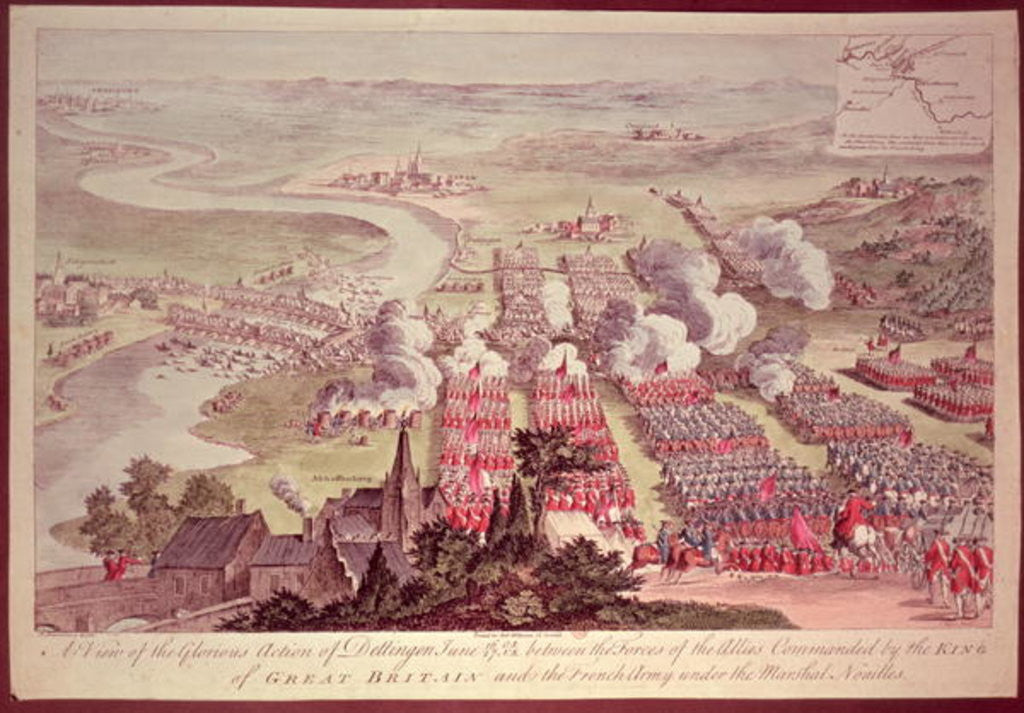 Detail of A View of the Glorious Action of Dettingen between the Forces of the Allies Commanded by the King of Great Britain and the French Army under the Marshal Noailles by F. Daremberg