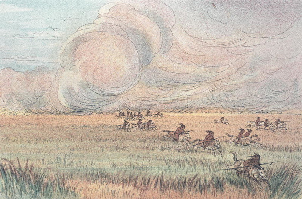 Detail of Missouri prairie fire by George Catlin