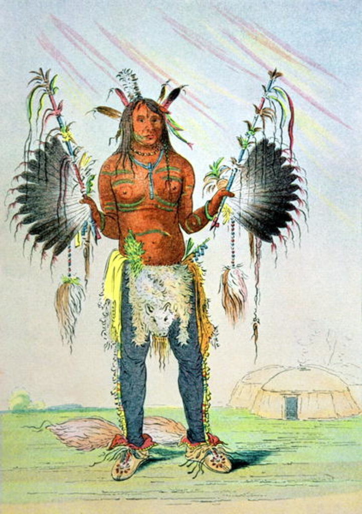 Detail of Mandan Medicine Man Mah-to-hah 'Old Bear' by George Catlin