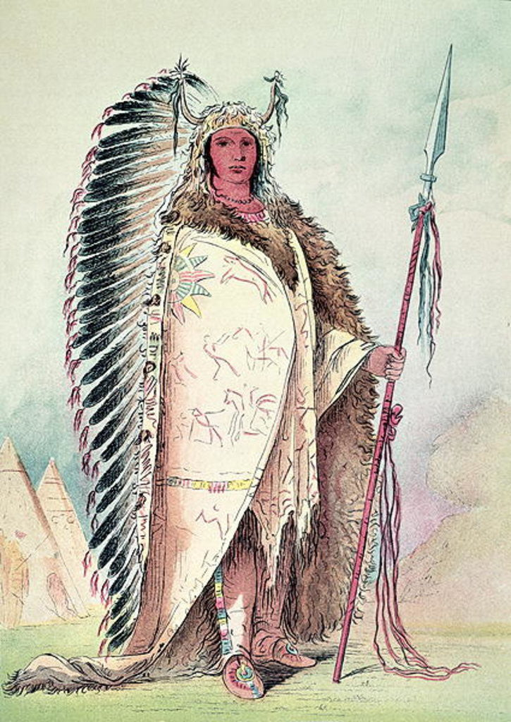 Detail of Sioux chief, 'The Black Rock' by George Catlin