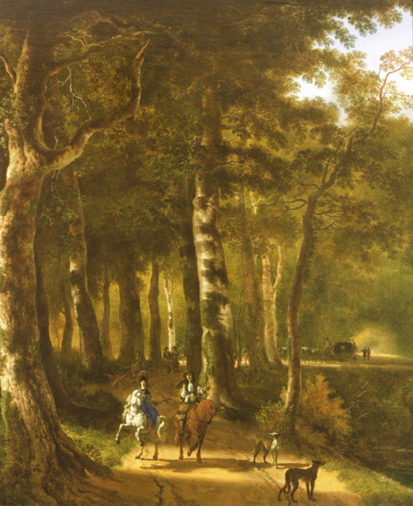 Detail of Travellers on a Path in a Wooded Landscape by Jan Hackaert