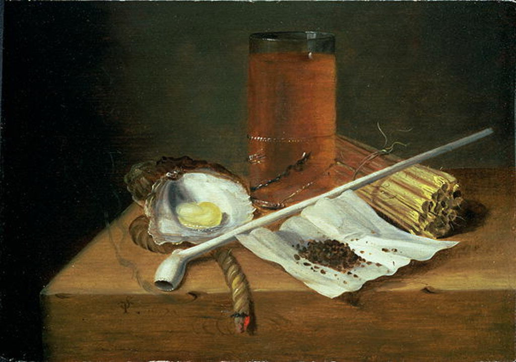 Detail of Still life with Smoking Requisites by Casparus Smits