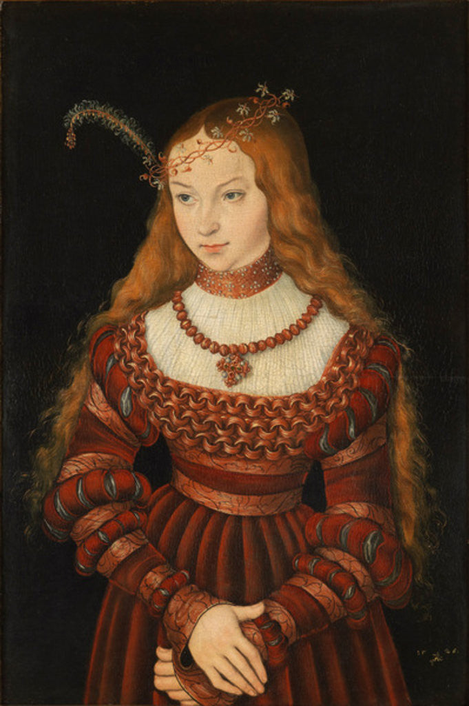 Detail of Betrothal portrait of Sybille of Cleves by Lucas