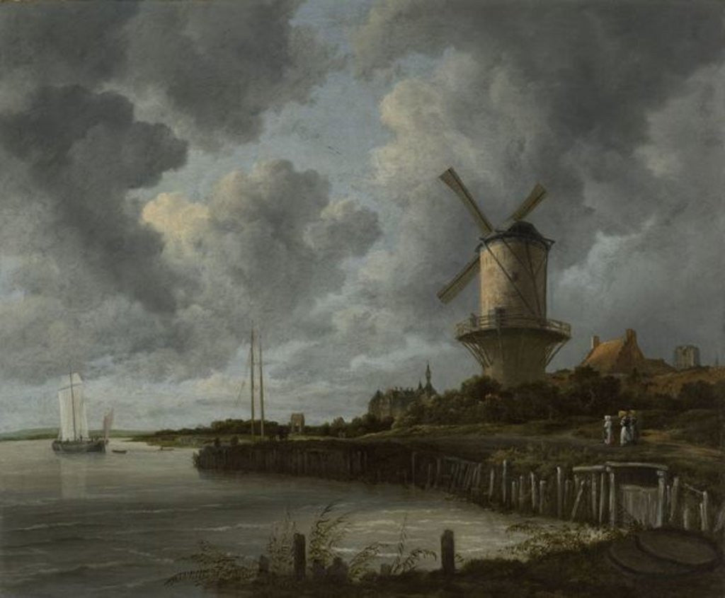 Detail of The Windmill at Wijk Duurstede by Jacob Isaaksz. or Isaacksz. van Ruisdael