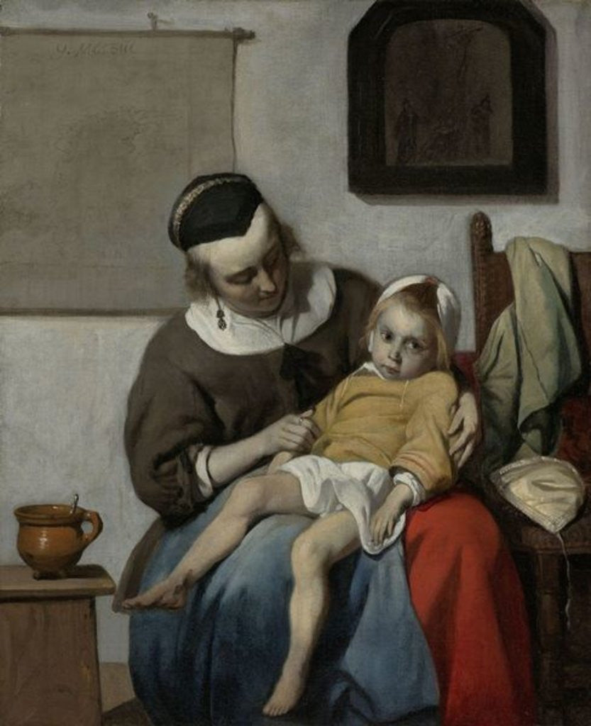 Detail of The Sick Child by Gabriel Metsu