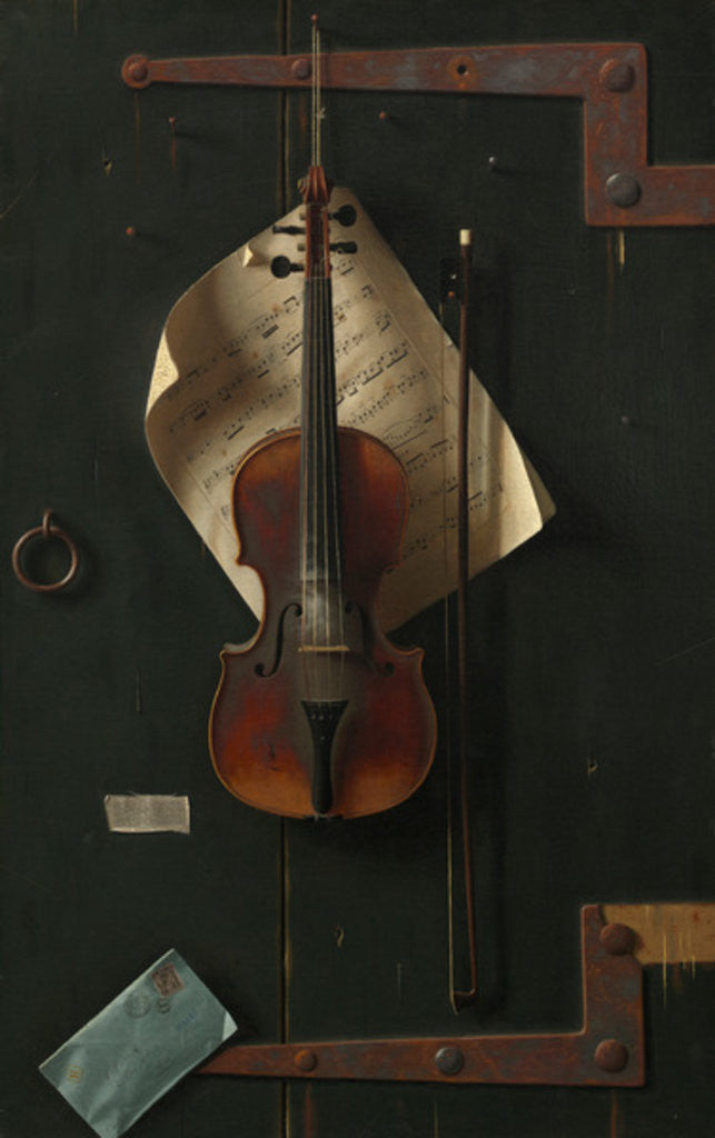 Detail of The Old Violin by William Michael Harnett