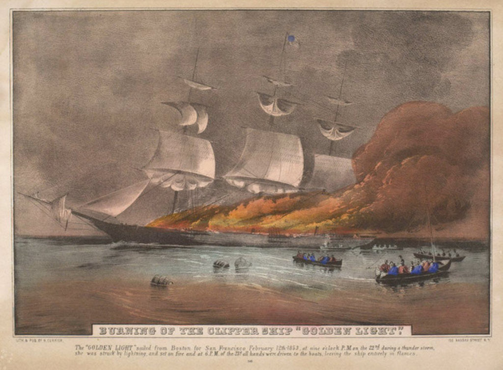 Burning of the Clipper Ship, 'Golden Light' by N. and Ives