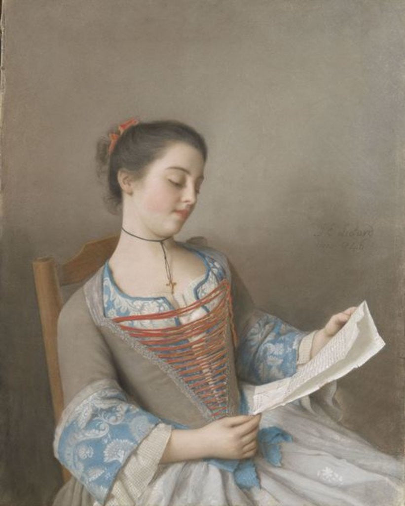 Detail of La liseuse by Jean-Etienne Liotard