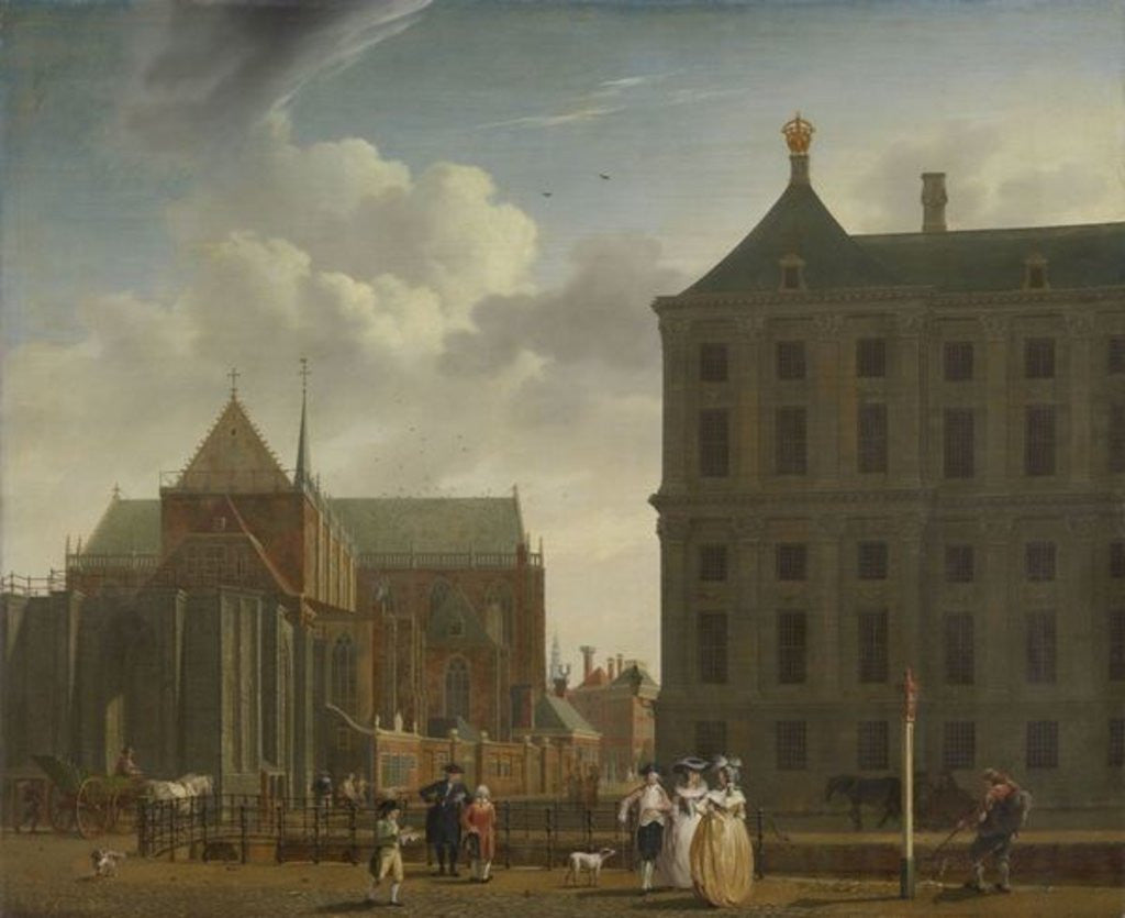 Detail of The Nieuwe Kerk and the Town Hall on the Dam in Amsterdam by Isaak Ouwater