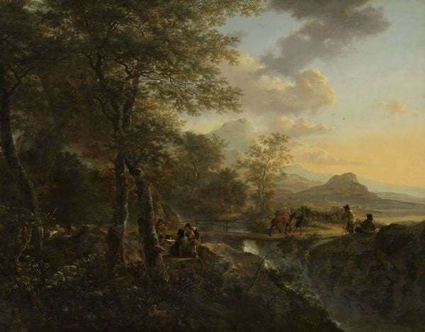 Detail of Italian Landscape with a Draughtsman by Jan Both