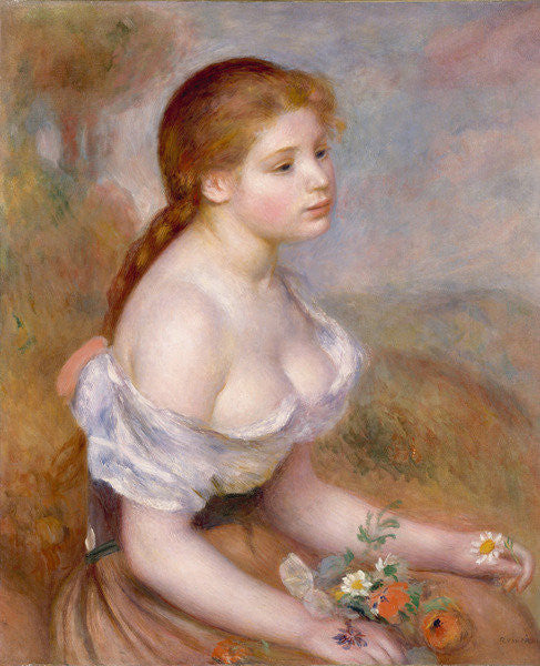 Detail of A Young Girl with Daisies by Pierre Auguste Renoir