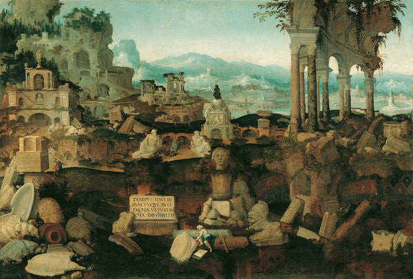 Detail of Landscape with Roman Ruins by Herman Posthumus