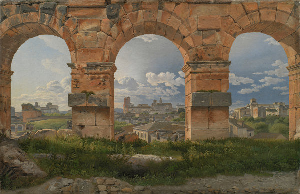 Detail of A View through Three of the North-Western Arches of the Third Storey of the Coliseum in Rome by Christoffer-Wilhelm Eckersberg
