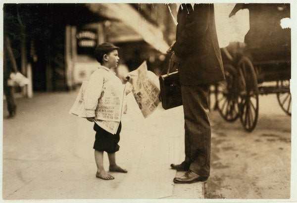 Detail of 6 year old newsboy Hyman selling papers until 6 p.m. in Lawrence, Massachusetts by Lewis Wickes Hine