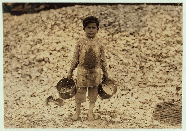 Detail of 5 year old migrant shrimp-picker Manuel by Lewis Wickes Hine