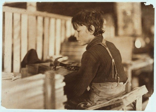 Detail of Boy making baskets for melons at Evansville, Indiana by Lewis Wickes Hine