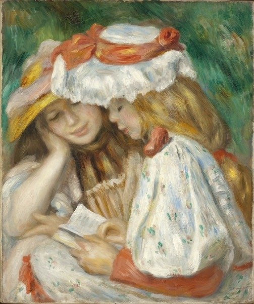 Detail of Two Girls Reading by Pierre Auguste Renoir