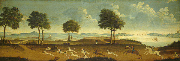Detail of Hunting scene with a harbour by American School
