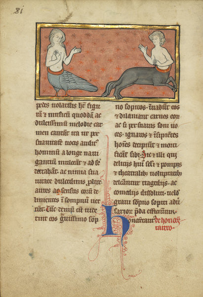 Detail of A Siren and a Centaur from a bestiary Ms Ludwig by Franco-Flemish School