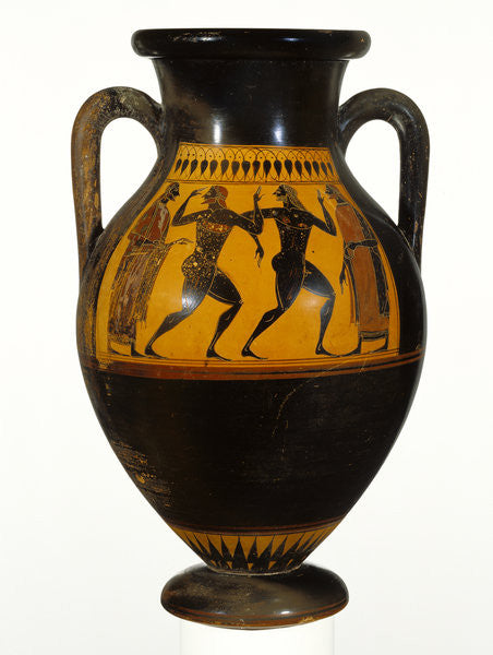 Detail of Athenian Attic black-figure amphora with dancers by Greek