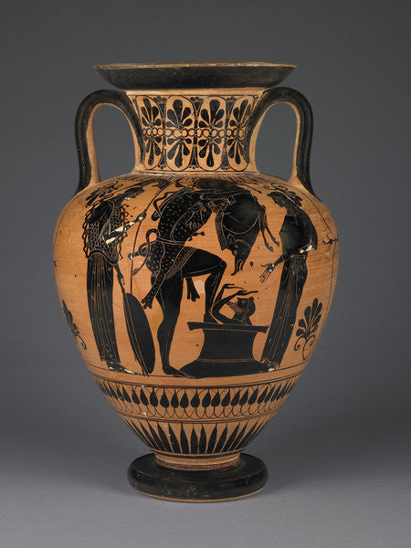 Detail of Athenian Attic black-figure amphora with Heracles carrying the Erymanthean boar by Greek
