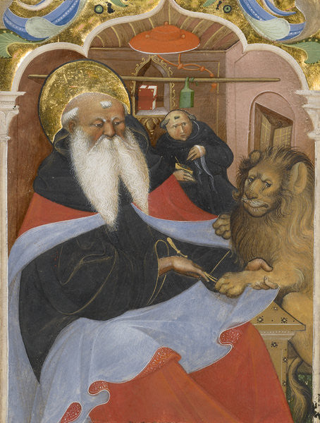 Detail of Saint Jerome extracting a thorn from a lion's paw by The Master of the Murano Gradual