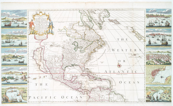 Detail of A new and correct map of the trading part of the West Indies by Henry Overton