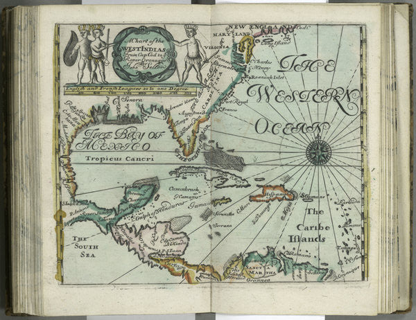 Detail of A chart of the West Indies from Cape Cod to River Oronoque from Atlas maritimus by John Seller by John Seller