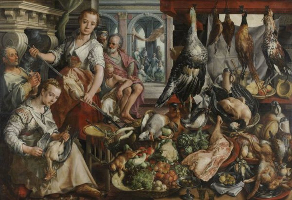 Detail of The Well-stocked Kitchen, 1566 by Joachim Beuckelaer or Bueckelaer