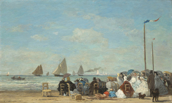 Detail of Beach Scene at Trouville by Eugene Louis Boudin