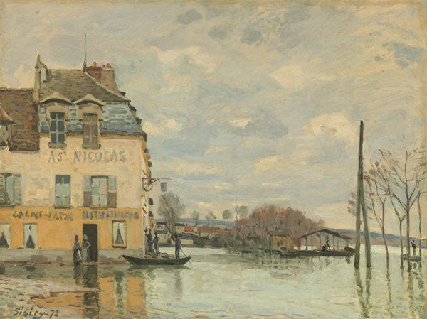 Detail of Flood at Port-Marly by Alfred Sisley