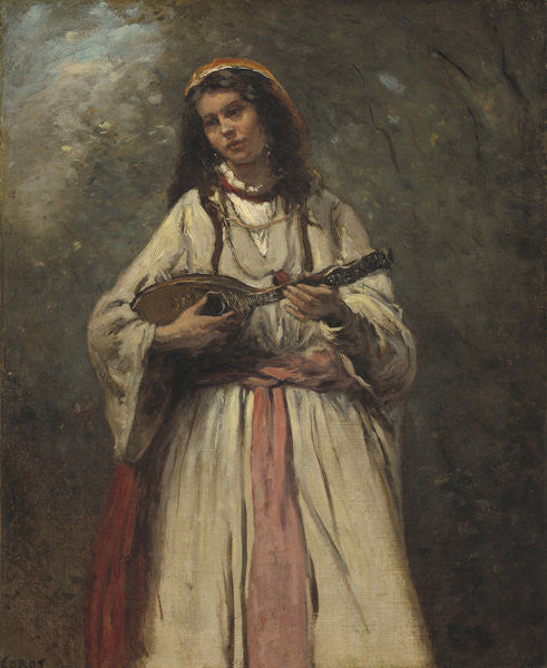 Detail of Gypsy Girl With Mandolin by Jean Baptiste Camille Corot