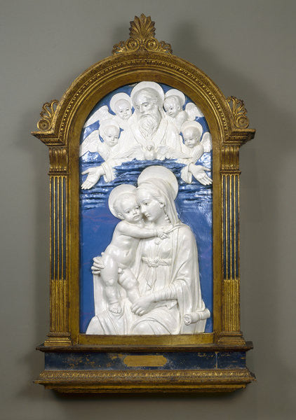 Detail of Madonna and Child with God the Father and Cherubim by Andrea Della Robbia