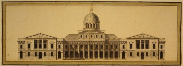 Detail of Design for U.S. Capitol by Etienne Sulpice Hallet