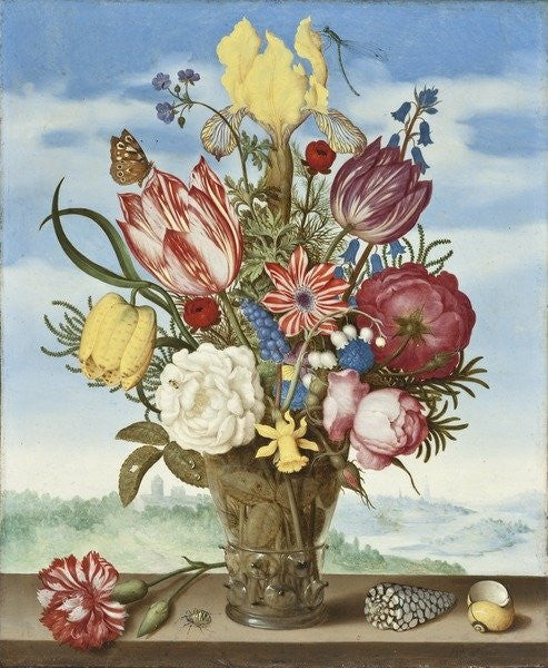 Detail of Bouquet of Flowers on a Ledge by Ambrosius the Elder Bosschaert