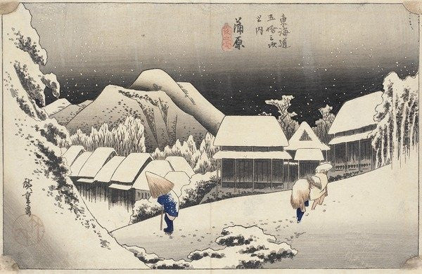 Detail of Evening Snow at Kanbara by Ando or Utagawa Hiroshige