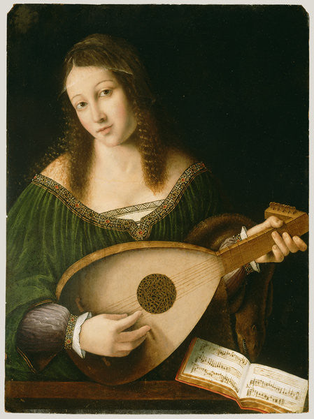Detail of Lady Playing a Lute by Bartolomeo Veneto