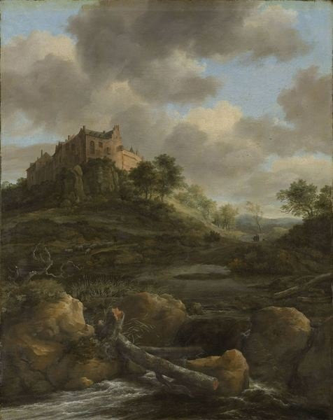 Detail of Bentheim Castle by Jacob Isaaksz. or Isaacksz. van Ruisdael