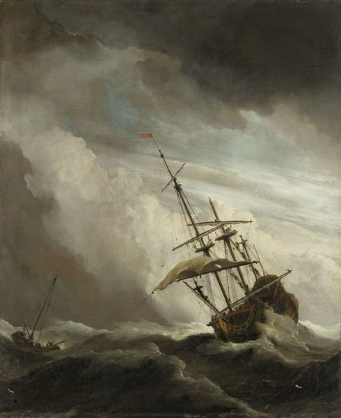 Detail of A Ship on the High Seas caught by a Squall, known as the 'Gust' by Willem van de