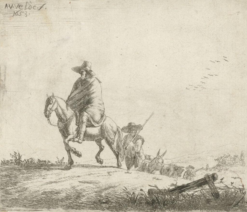 Detail of Rider and herdsman with cattle on a dirt road by Adriaen van de Velde