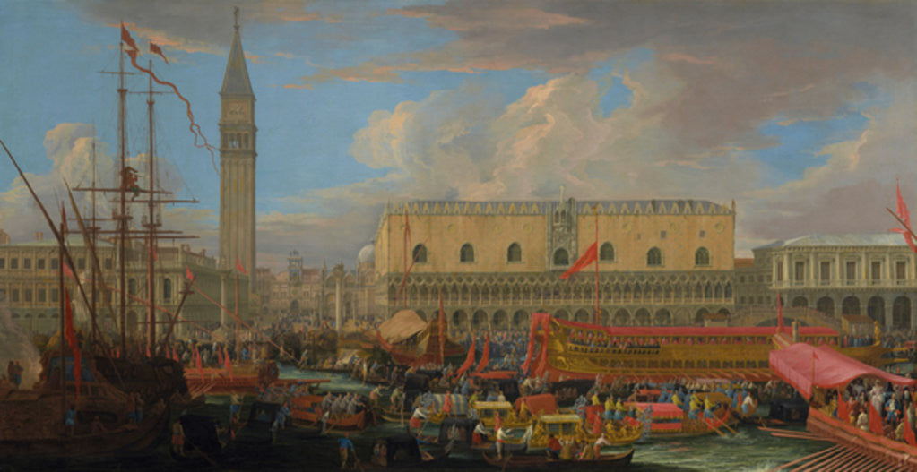 Detail of The Bucintoro Departing from the Bacino di San Marco by Luca Carlevaris