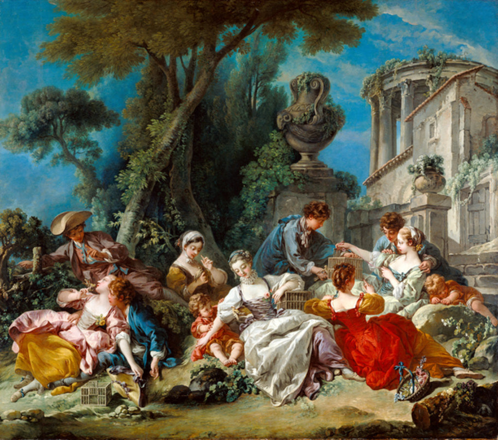 Detail of The Bird Catchers by Francois Boucher