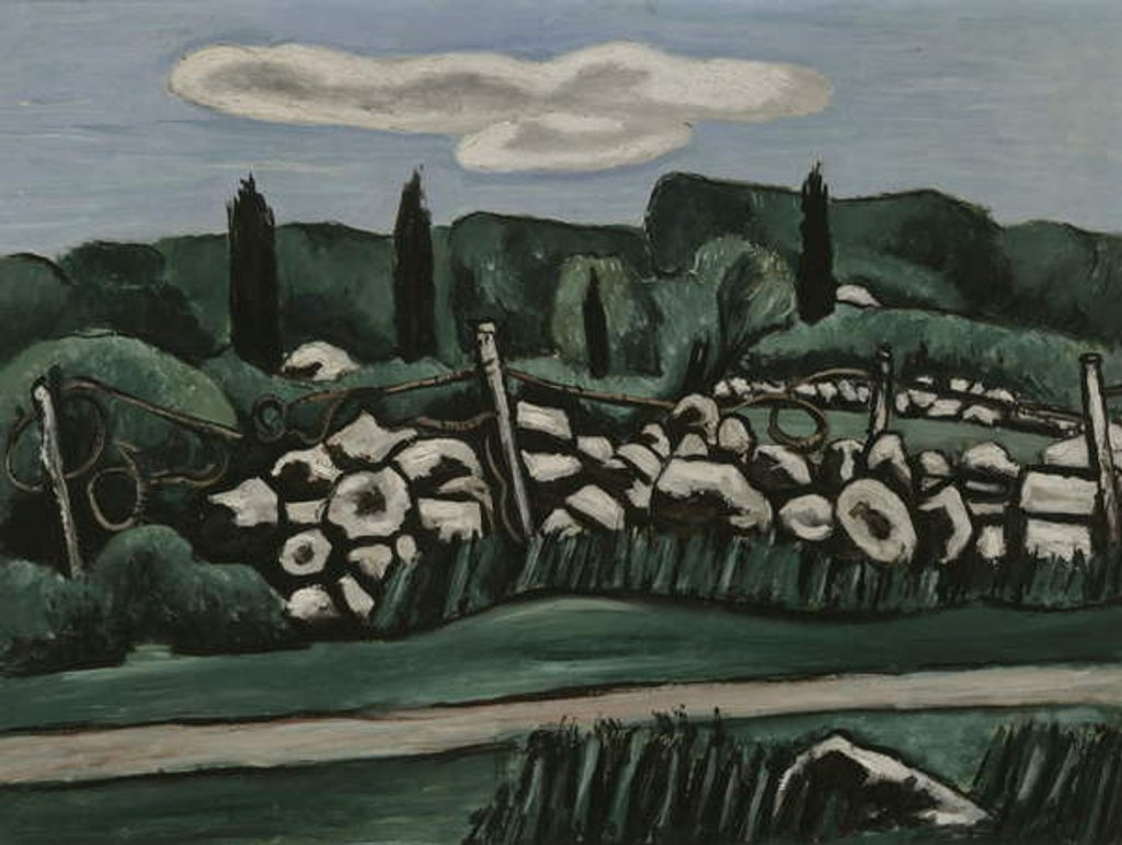 Detail of The Last Stone Walls, Dogtown, c.1936-37 by Marsden Hartley