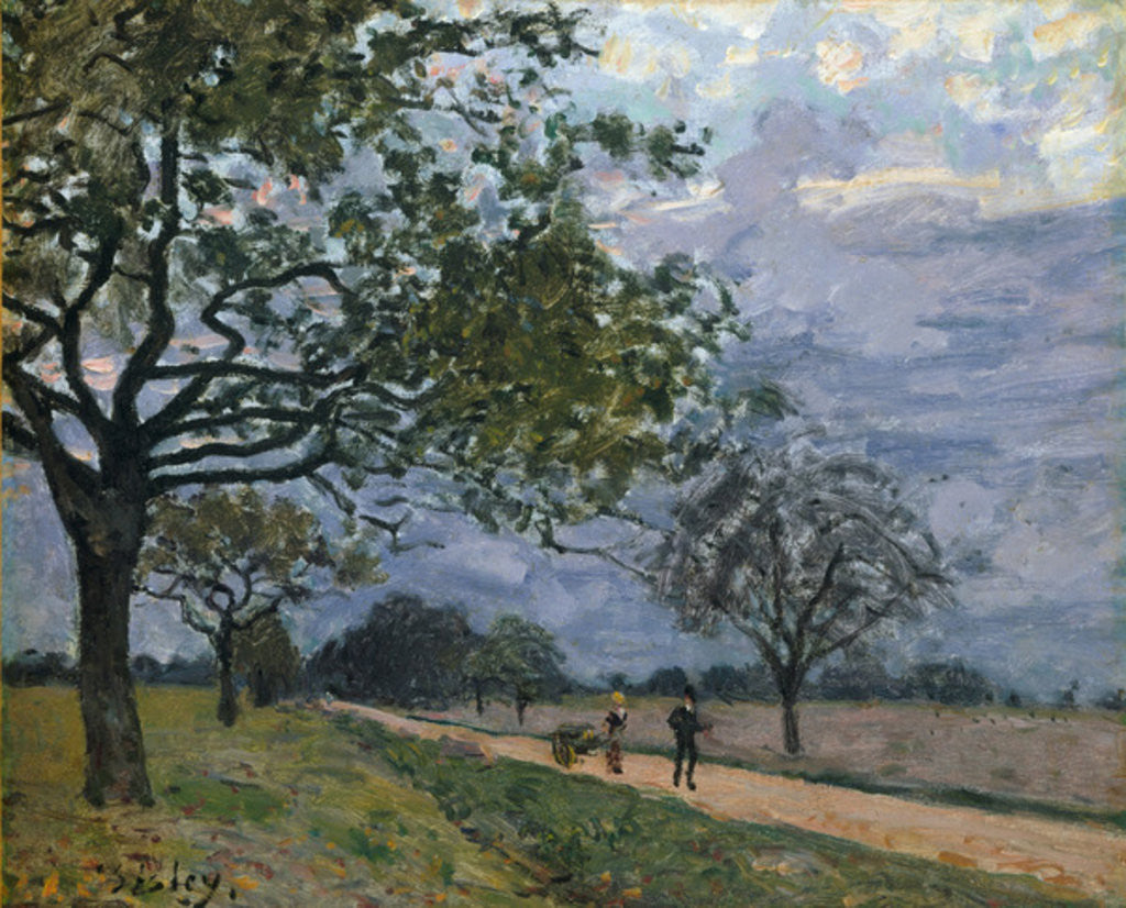 Detail of The Road from Versailles to Louveciennes, 1879 by Alfred Sisley