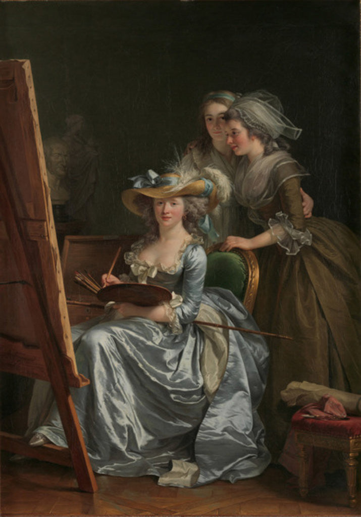 Detail of Self-Portrait with Two Pupils, Marie Gabrielle Capet and Marie Marguerite Carreaux de Rosemond, 1785 by Adelaide Labille-Guiard