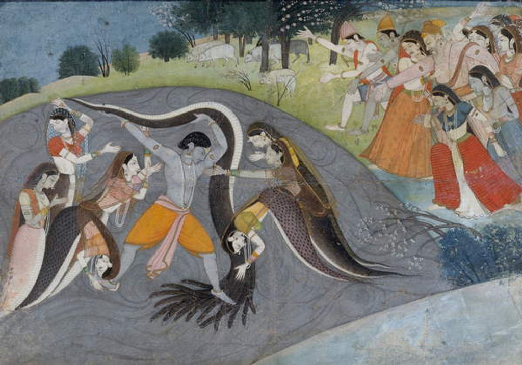 Detail of Krishna Subduing Kaliya, the Snake Demon, c.1785 by Indian School