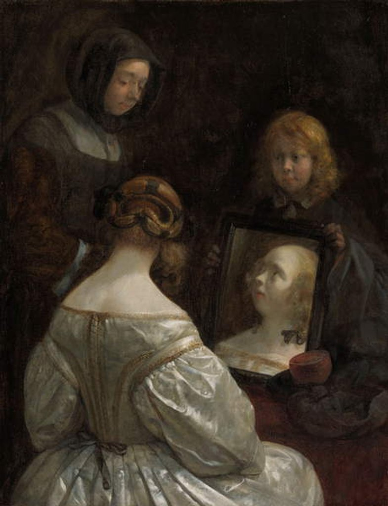 Detail of Woman at a Mirror, c. 1652 by Gerard ter Borch or Terborch